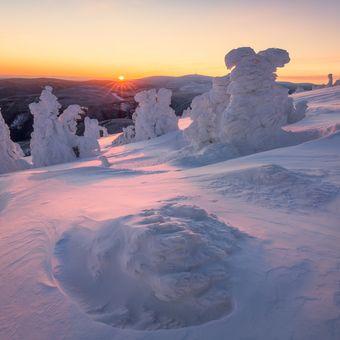 Zimní ráno na Červené hoře