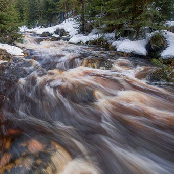 Hamerský potok při oblevě