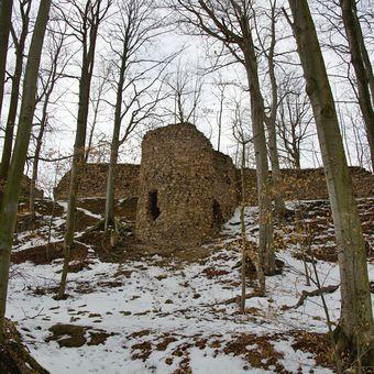Zřícenina hradu Oheb nad Sečskou přehradou