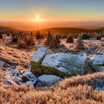 Dnešní východ slunce na Břidličné hoře