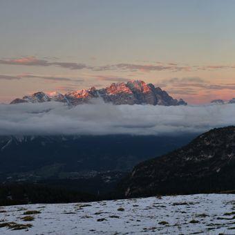 Západ slunce v Dolomitech