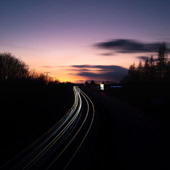 Silnice při západu