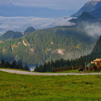 ráno na rozhraní Štýrska a Horních Rakous