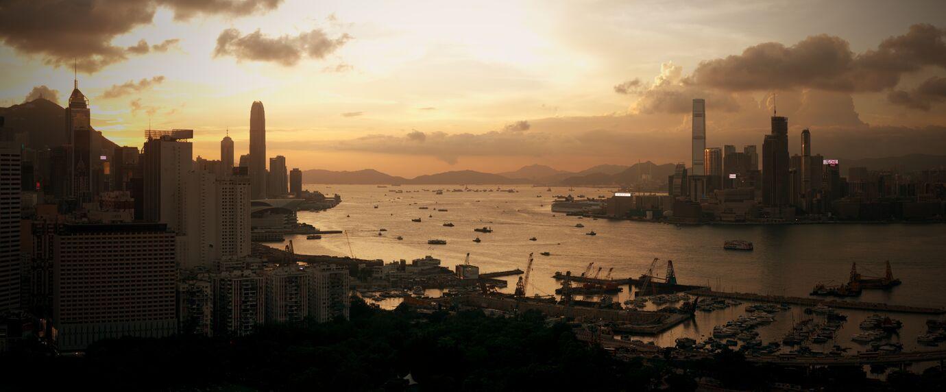 Sunset over Hong Kong