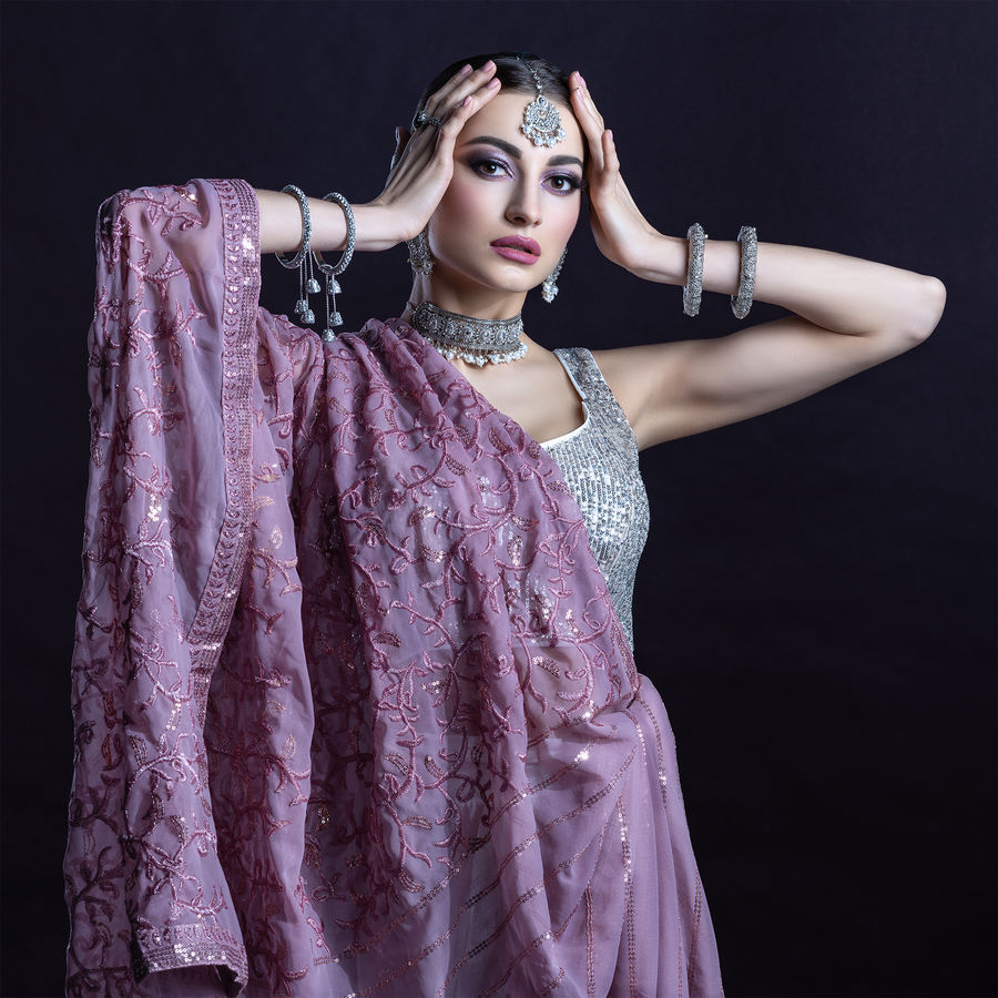 Oriental girl in Indian style
