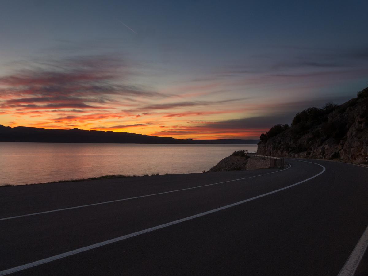 Západ slunce nad Velebitským kanálem