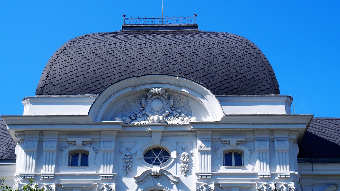 Horní část budovy novobarokní radnice, dnešní sídlo Archivu města Ostravy od architekta Camillo Sitte