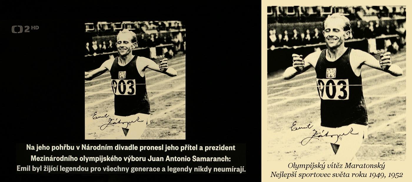 Emil Zátopek v cíli Olympijského Maratonského běhu v Helsinkách v roce 1952