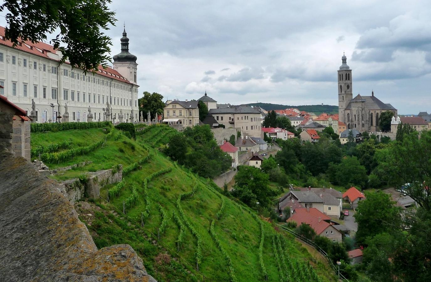Zelený svah v historickém jádru Kutné Hory