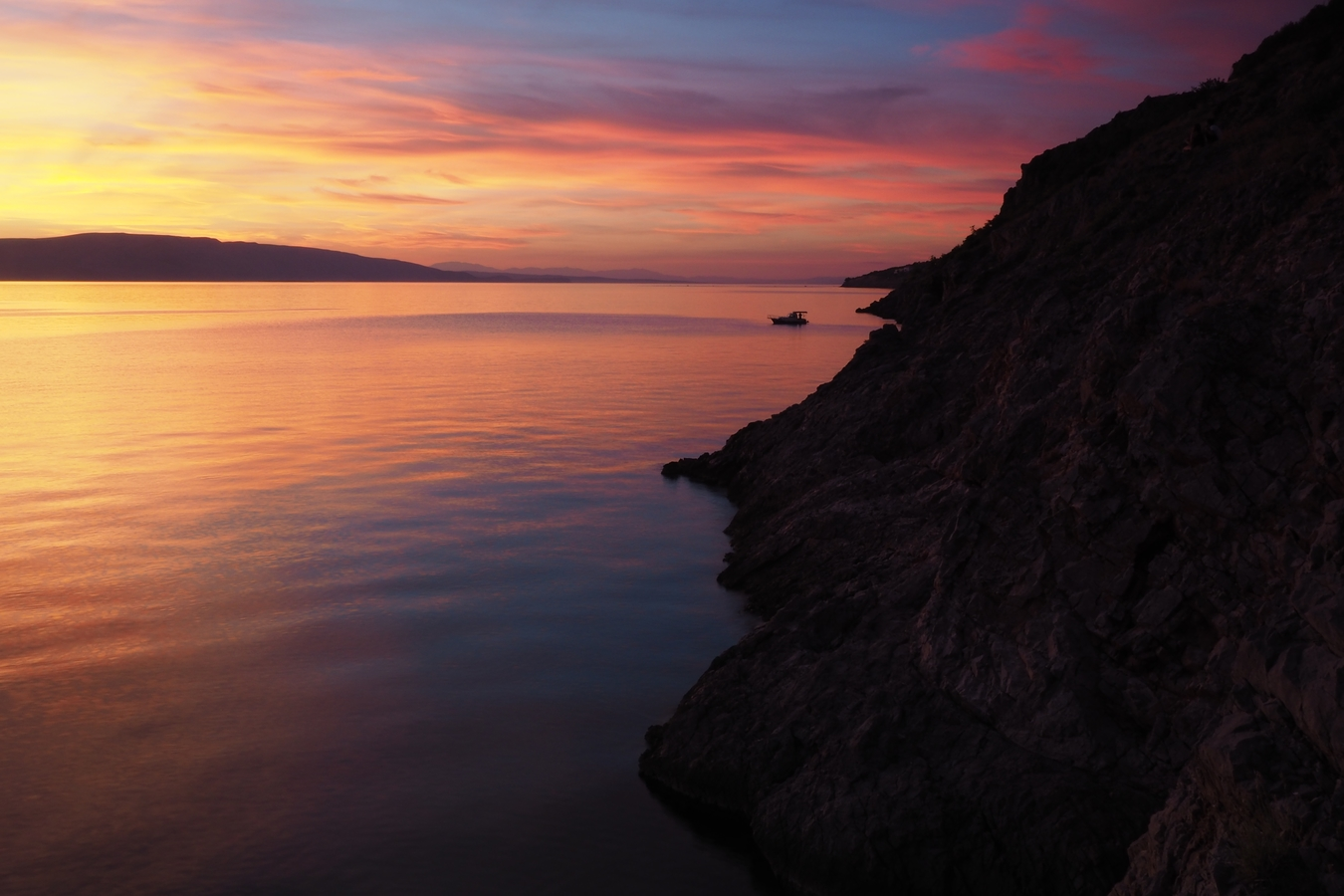 Sunset from camping Ujca Croatia