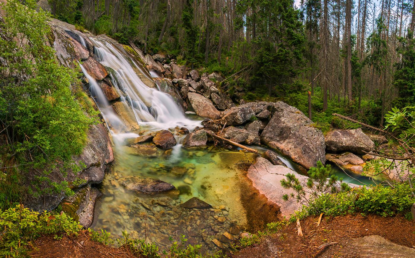 vodopády studeného potoka vo vysokých Tatrách