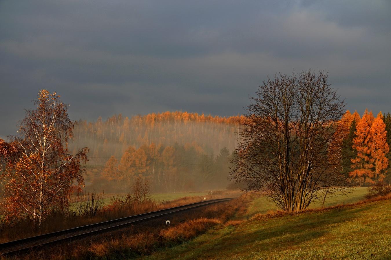 Ranní mlha a slunce