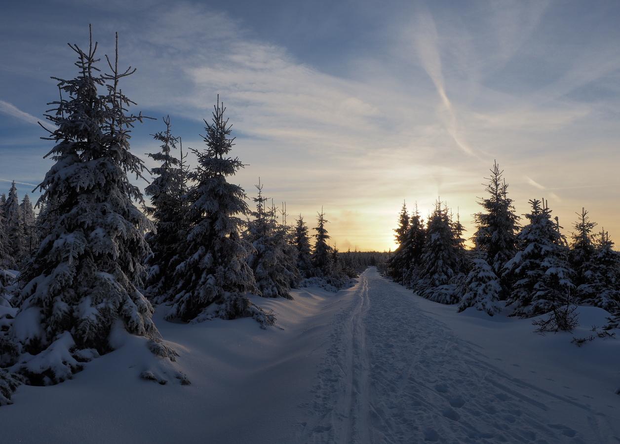 Jizerský západ slunce, v zimě.