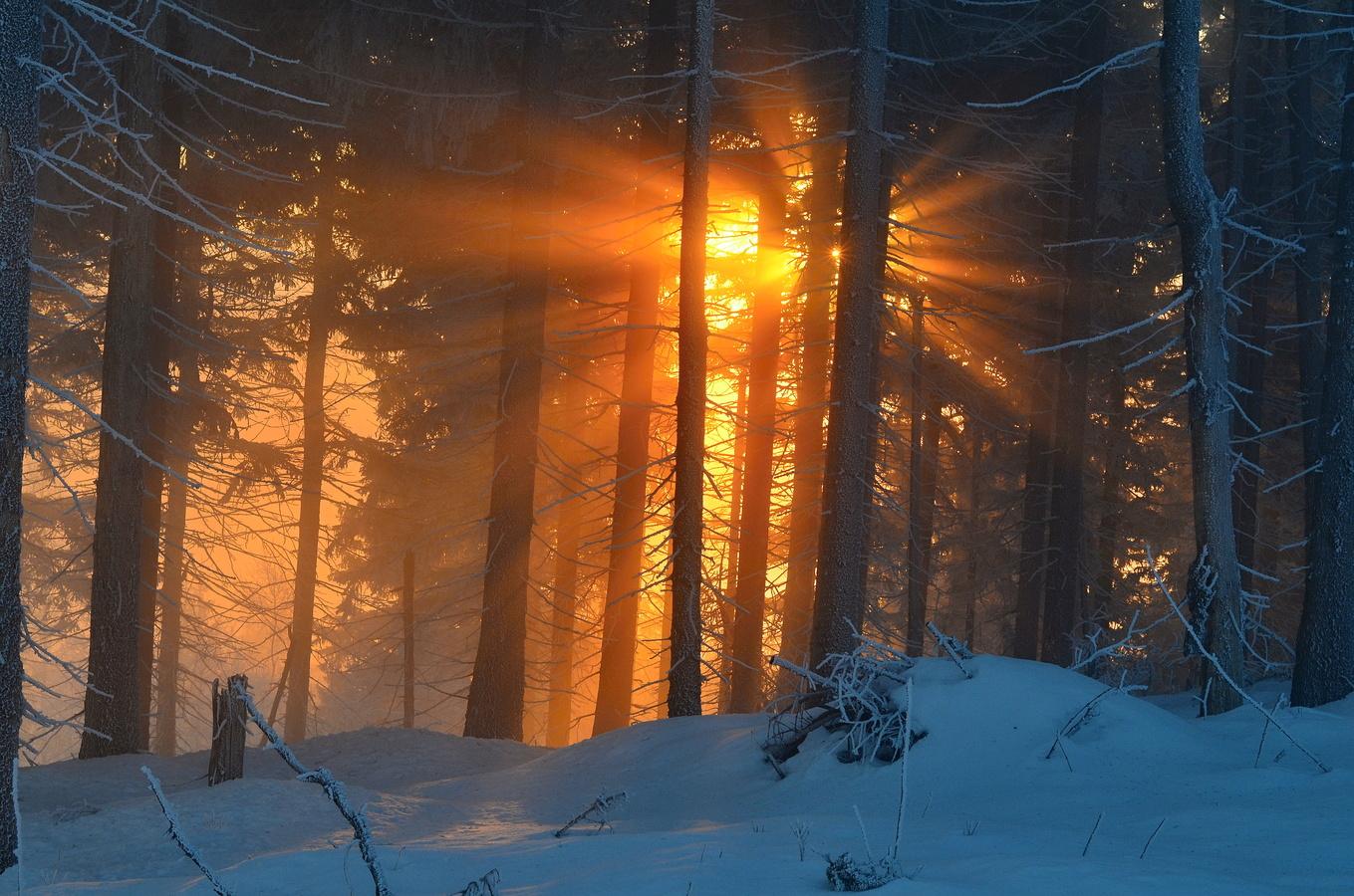 Východ slunce v Krkonoších