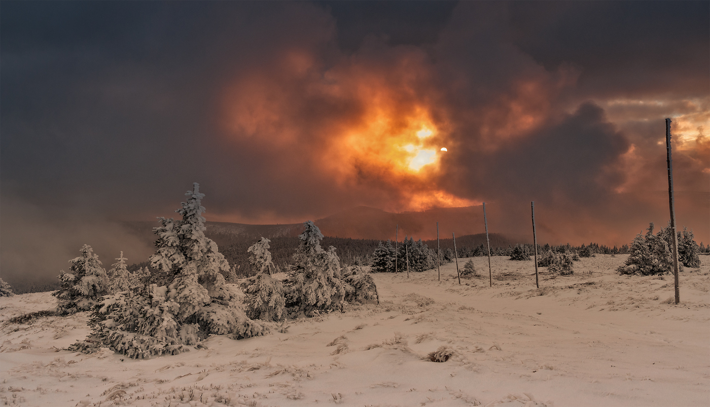 Západ slunce z Pradědu