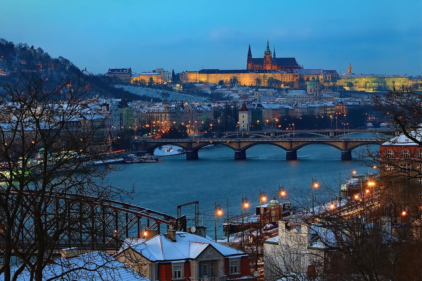 Zimní pohled z Vyšehradu