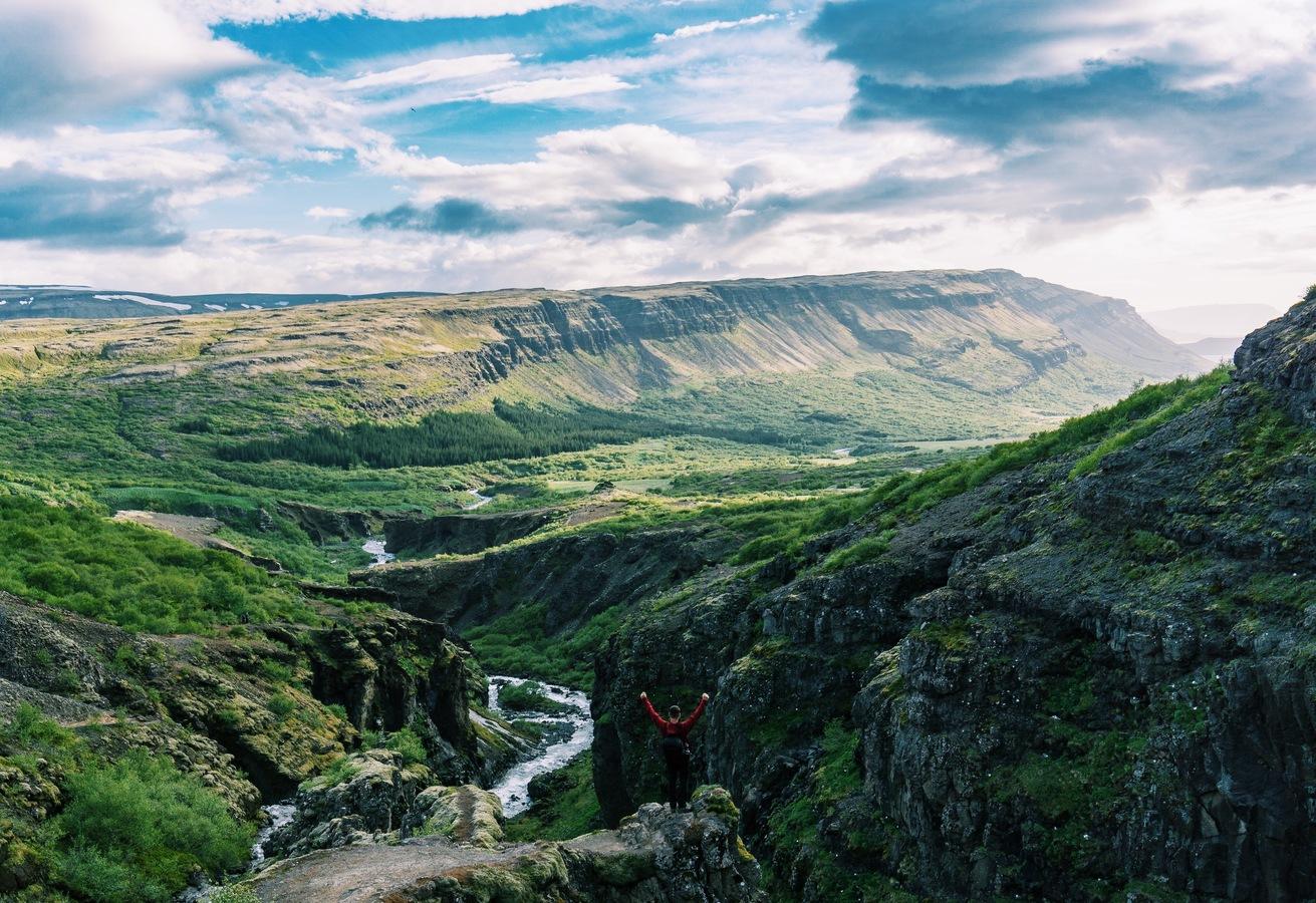 Výhled od vodopádu Glymur