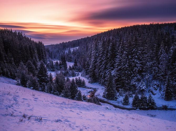 Údolí Křemelné v modré hodince