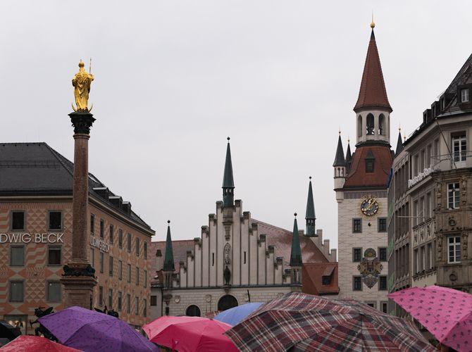 ...přes kopule deštníků...