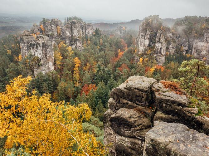 Podzimní mlhavé Hruboskalsko, Český ráj
