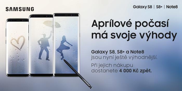 Samsung Galaxy S8, S8+ a Note 8 s cashbackem 4 000 Kč