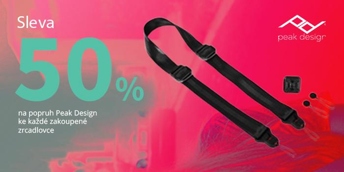 K nákupu jakékoli zrcadlovky získáte 50% slevu na popruh značky Peak Design