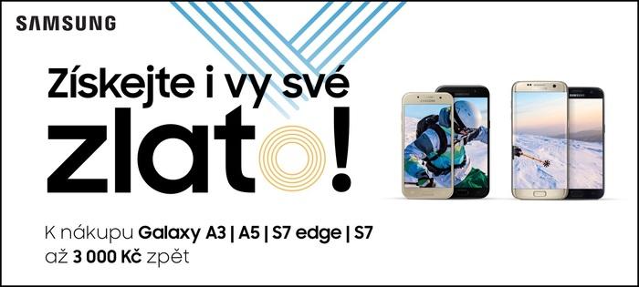 Samsung Cashback prodloužen do 31. 3.! Získejte zpět až 3 000 Kč k telefonům Galaxy S7, A5 nebo A3