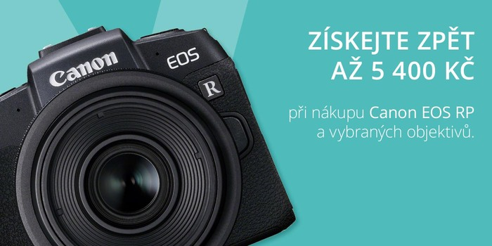 Získejte cashback až 5 400 Kč při zakoupení nové bezzrcadlovky Canon EOS RP!