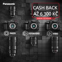 Pořiďte si oblíbené modely fotoaparátů a objektivů Panasonic s cashbackem až 6 300 Kč