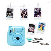 Fujifilm Instax Mini 11 sky blue + Instax film 10x + kožené pouzdro