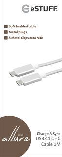 eStuff kabel USB-C (USB 3.0) 1m stříbrný