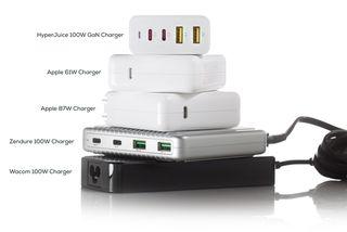 HyperJuice GaN napájecí adaptér 100W (2× USB-C PD, 2× USB-A)