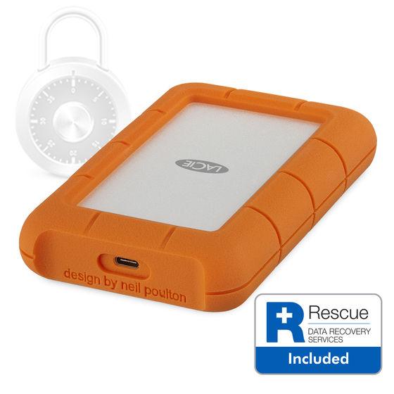 """LaCie Rugged Secure 2TB HDD, 2.5"""" USB 3.1 Type C, hliníkový, odolný"""