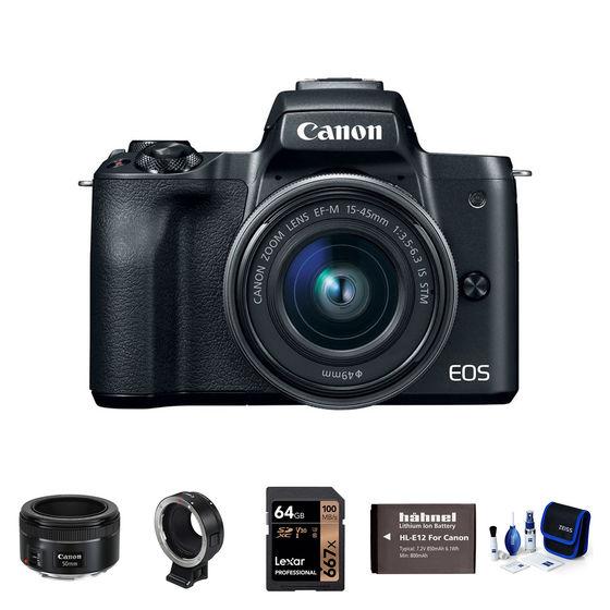 Canon EOS M50 + 15-45 mm + EF-S 50 mm + adaptér EF-EOS M černý - Základní kit