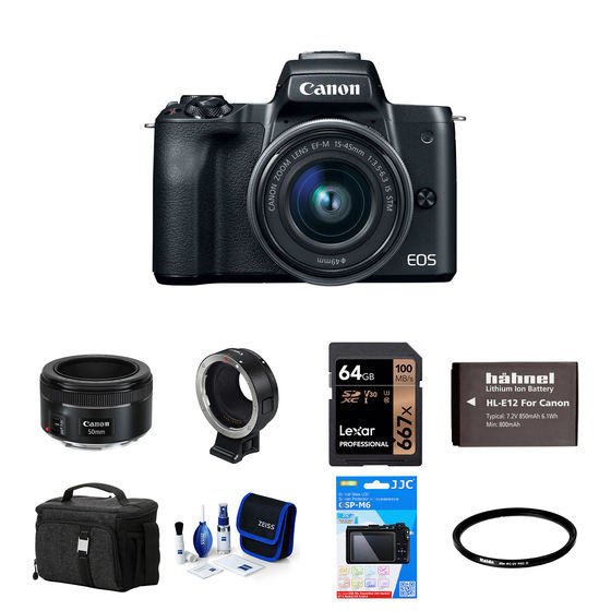 Canon EOS M50 + 15-45 mm + EF-S 50 mm + adaptér EF-EOS M černý - Foto kit