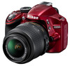 Nikon D3200 červený + 18-55 VR
