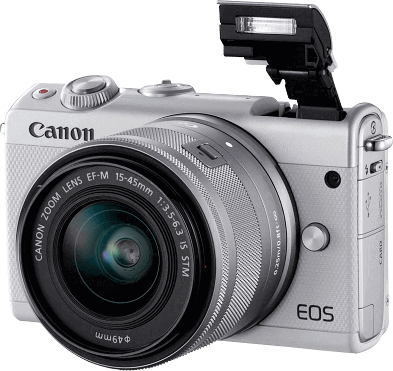 eos-m100_white_front_slant_left_flashup_ef-m_15-45mm_is_stm_800x756