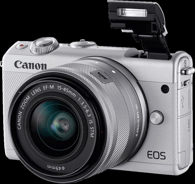 eos-m100_white_front_slant_left_flashup_ef-m_15-45mm_is_stm_800x756