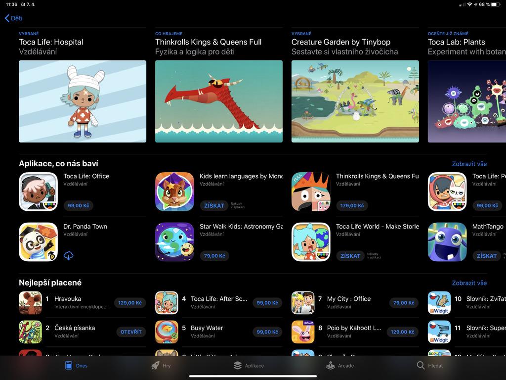 Aplikace pro děti na iPad