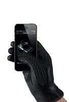 Mujjo kožené háčkované dotykové rukavice, velikost 8.5 černé