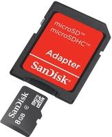 SanDisk Micro SDHC 8GB, Class 4  + Adaptér