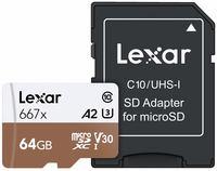 Lexar microSDXC 64GB 667x Professional Class 10 UHS-I U3 A2 (V30)