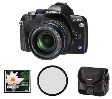 Olympus E-450 Double Zoom Kit + CF 4GB karta + brašna Surrounder 130 + filtr UV 58mm! + fotokniha zd