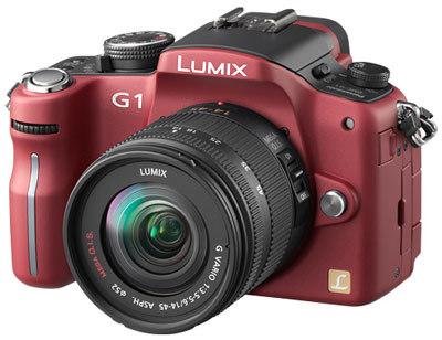 Panasonic Lumix DMC-G1 červený + G Vario 14-45 mm + 45-200 mm