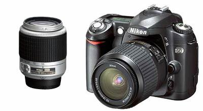 Nikon D50 černý + 18-55 AF-S DX černý + 55-200 AF-S DX stříbrný!