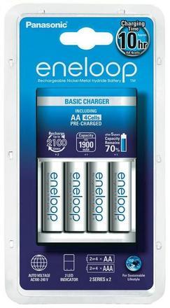 Panasonic Basic Charger + 4x Eneloop AA baterie 1900 mAh