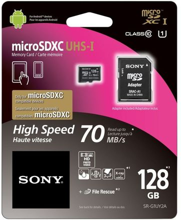 Sony Micro SDXC 128GB SDHC UHS-I + Adaptér