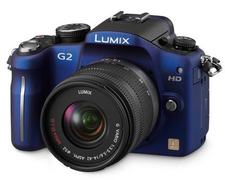 Panasonic Lumix DMC-G2 modrý + 14-42 mm + 45-200 mm
