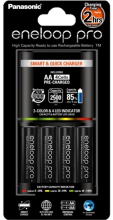 Panasonic Smart Quick Charger + 4× Eneloop PRO AA baterie 2450 mAh