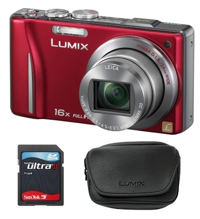 Panasonic Lumix DMC-TZ20 červený + 8GB Ultra + pouzdro DMW-CLZ5E!